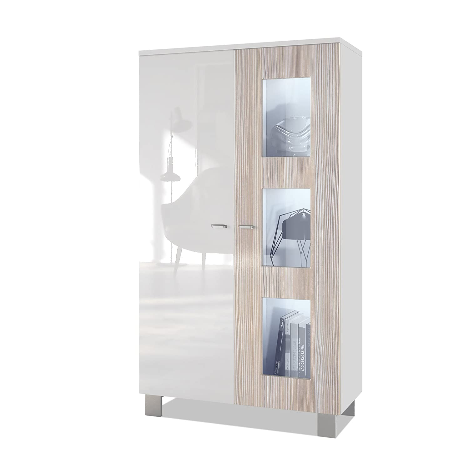 Door in Avola-champagne with LED lighting Vladon Tall Display Cabinet Cupboard Denjo, Carcass in White matt Front in White High Gloss