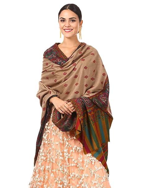 22bc2dd2e2 Pashtush Womens Kalamkari Embroidery Pashmina Shawl, Multicoloured Silk  Thread and Needlework, Kashmiri Embroidery Design
