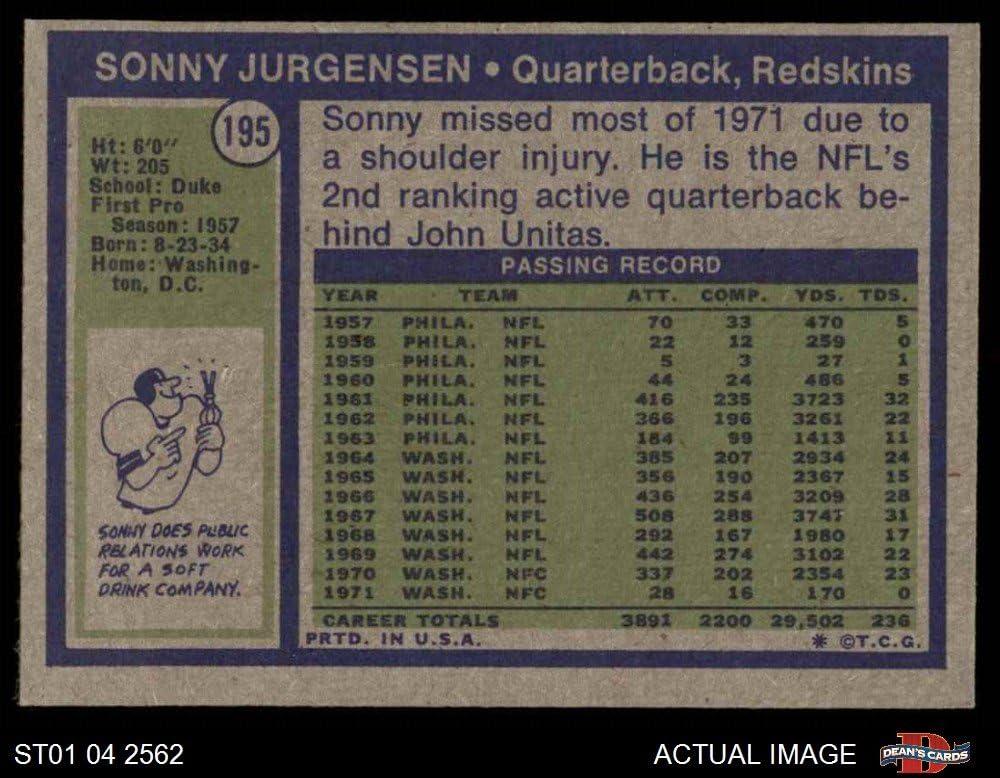 Football Card 1972 Topps # 195 Sonny Jurgensen Washington Redskins EX Redskins Deans Cards 5