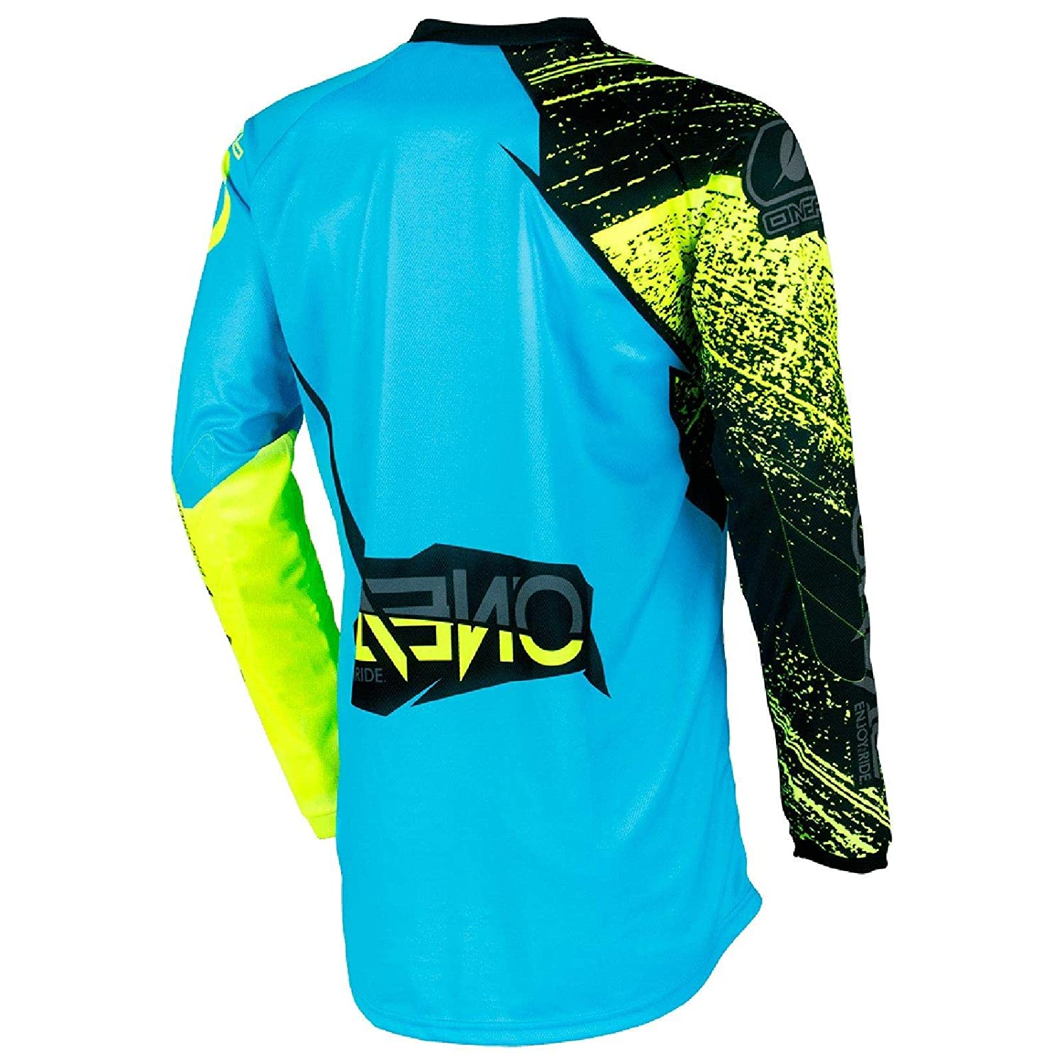 Camiseta de MX Oneal 2018 Element Burnout Negro-azul-Hi Viz