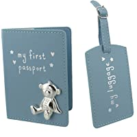 Button Corner Blue My First Passport & My Luggage Tag Gift Set with metal teddy icon - Baby Gift