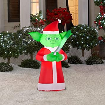 christmas decoration lawn yard inflatable airblown star wars yoda in santa suit 35 tall