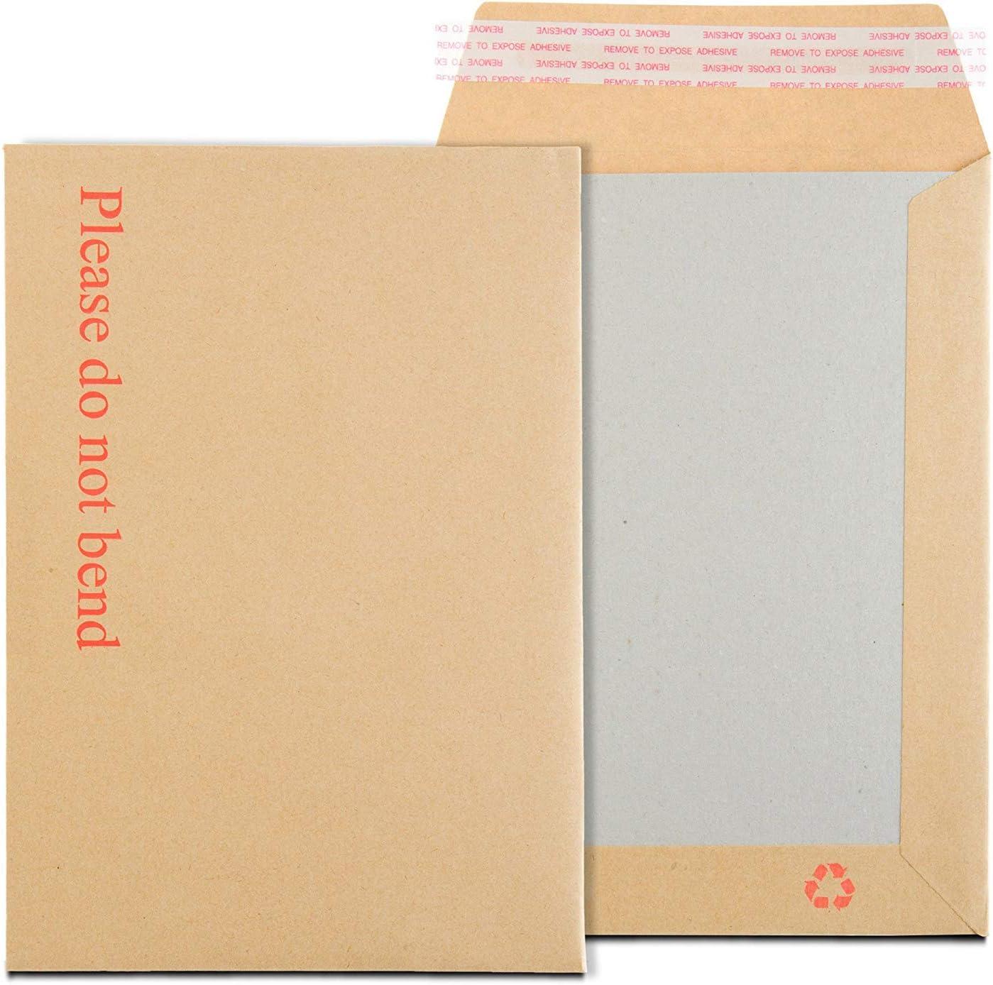 SimplelifyPackaging/® Enveloppes cartonn/ées avec bande autocollante et dos en carton rigide avec inscription /« Please Do Not Bend /» Format C5//A5 163 x 238 mm 238 mm x 163 mm Manille
