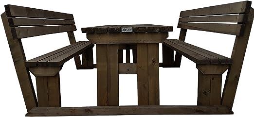 Alders banco de mesa de picnic con soporte de la espalda – 5 M – luz verde o marrón rústico acabado – hecho a mano de madera al aire libre muebles: Amazon.es: Jardín