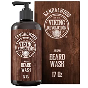 Beard Wash Shampoo w/Argan & Jojoba Oils - Softens & Strengthens - Sandalwood Scent - Beard Shampoo w/Beard Oil (17 oz Shampoo)