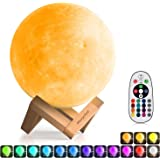 3D Moon Lamp (Diameter 5.9 INCH), Morpilot 16 Colors 3D Print Moon Light Home Decorative Lights Night Light with Remote & Touch Control and USB Recharge for Baby Kids Lover Birthday Fathers Day Gifts