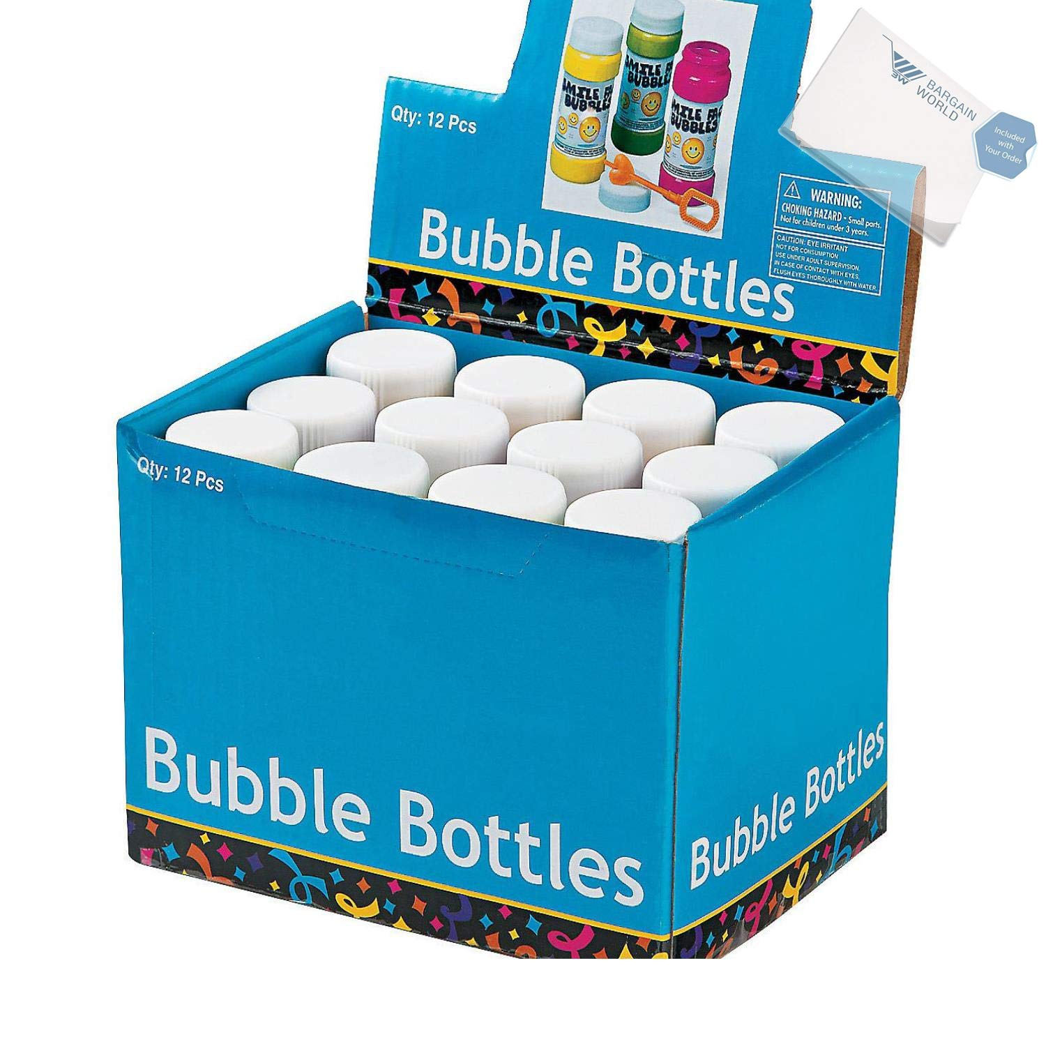 Bargain World Plastic Smile Face Bubble Bottles (With Sticky Notes) by Bargain World (Image #1)