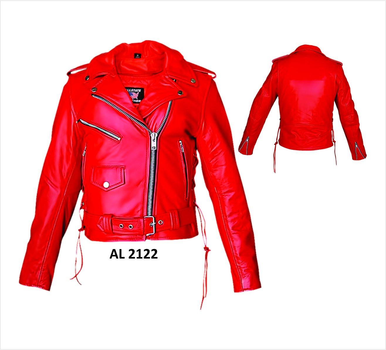 Ladies Red Motorcycle Jacket with Zipout Liner and Side Laces - 3X - AL2122