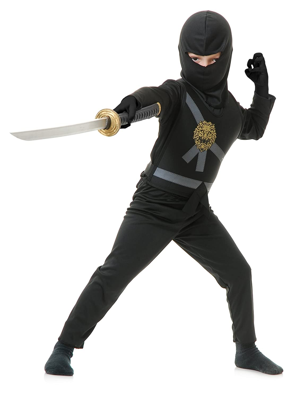 Charades Child's Ninja Avenger Costume, Black, Medium