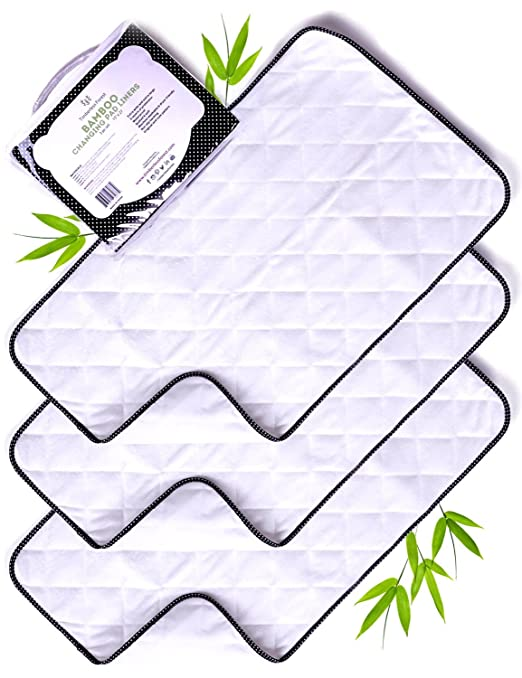 Amazon.com : Wipeable Changing Pad Cover-Bamboo Changing Pad Liners- Cambiador de Bebe-3 Set : Baby