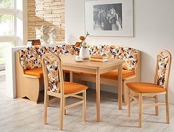 panca ad angolo gruppo teresa 1 in legno di faggio arancione ... - Panche In Legno Per Cucina