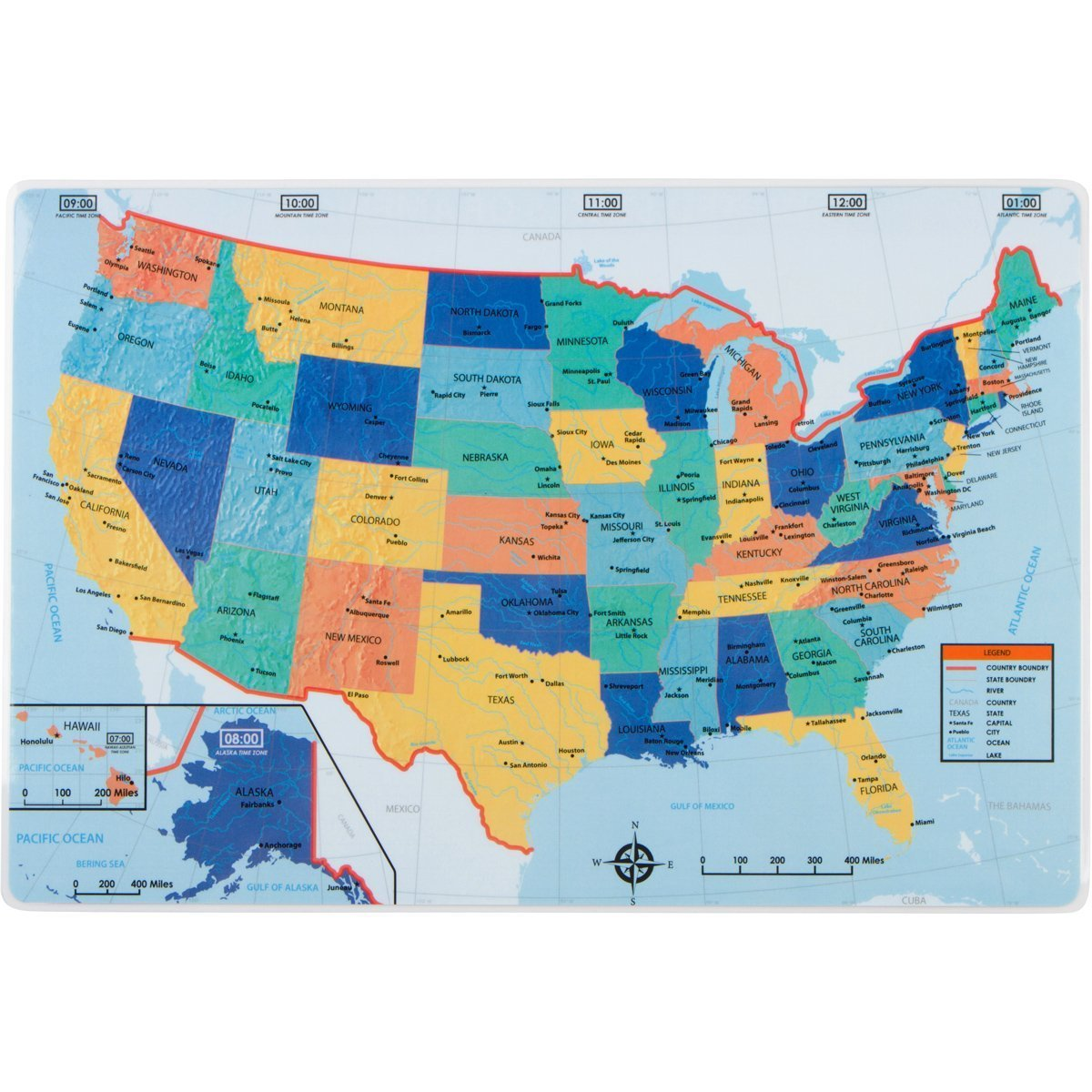 Amazon Com United States Placemat Us Map On Front With Quiz On