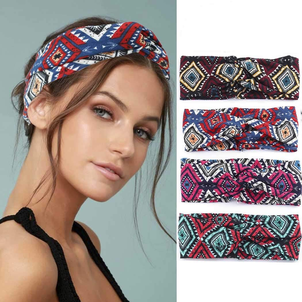 Diademas anchas para mujer bohemia para pintar 4 unidades viajes deporte accesorios para el pelo para ni/ñas Bohend Boho