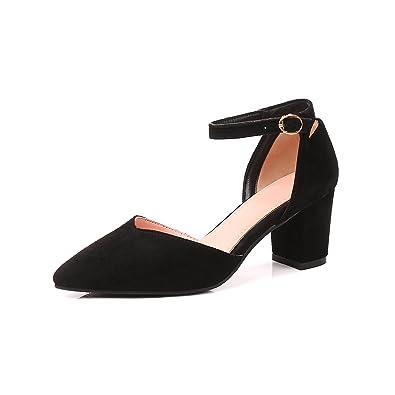 fd5adddc3b1a JIEEME Ladies Sweet Block Heels Buckle Strap Women Sandals Black Pink  Casual Women Shoes (UK