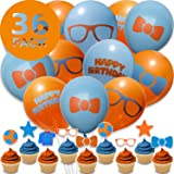 36 Super Cute Blippi Party Supplies For Blippi Birthday Party Decorations - 12 Blippi Cupcake Toppers and 24 Balloons…