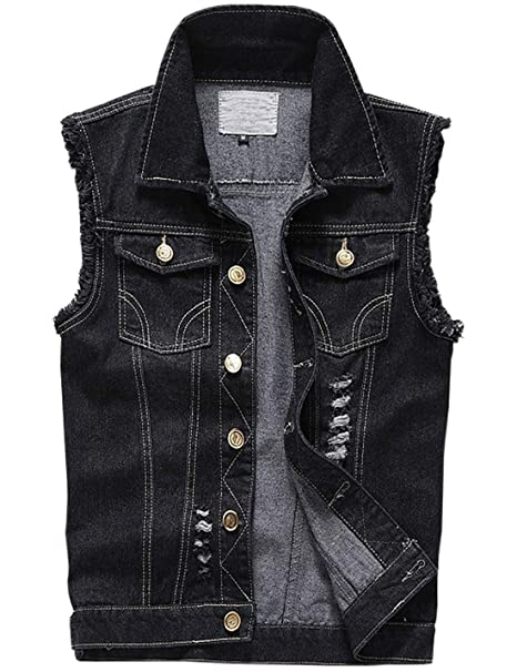 select for latest preview of new products for Jenkoon Men's Denim Lapel Vest Casual Sleeveless Jean Jackets