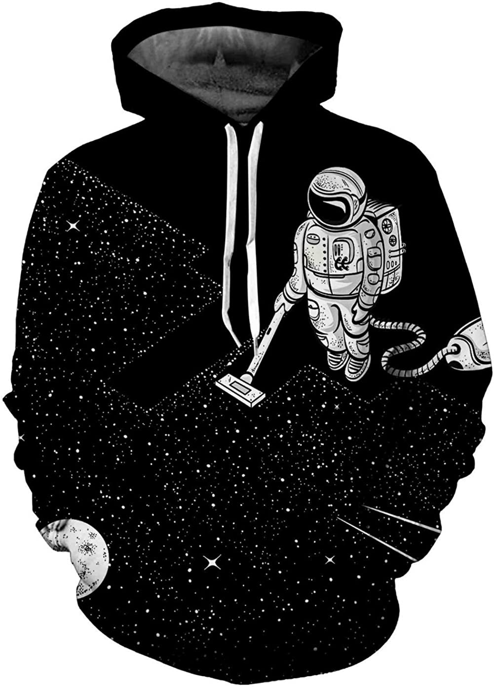 CORIRESHA Fashion Astronaut in Outer Space 3D Print Black Hoodie Sweatshirt