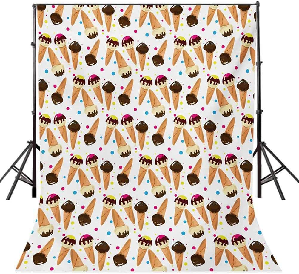 Ice Cream 10x15 FT Backdrop Photographers,Chocolate Covered Ice Cream with Colorful Little Dots Frozen Desert Waffle Cones Background for Party Home Decor Outdoorsy Theme Vinyl Shoot Props Multicolor
