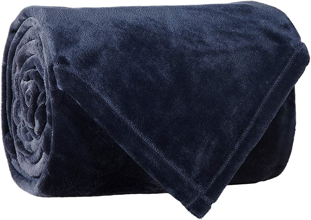 LBRO2M Fleece Bed Blanket King Size Super Soft Warm Fuzzy Velvet Plush Throw Lightweight Cozy Couch Blankets (90x104 Inch) Royal Blue