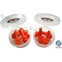 UDYOGI NPS Neon Products Reusable Soft Silicone Noise Reduction Corded Ear Plugs for Sleeping, Meditation, Swimming, 4 units (Orange) -Combo Pack of 2 Pairs