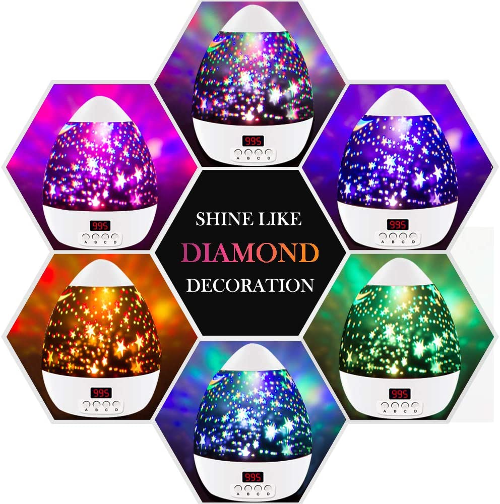 dmazing Toys for 3-12 Year Old Boys Girls Night Lights for Children Best Gifts for 2-10 Years Old Kids Novelty 360 Rotating Round Night Light Projector Lamp for Kid DDUKD02