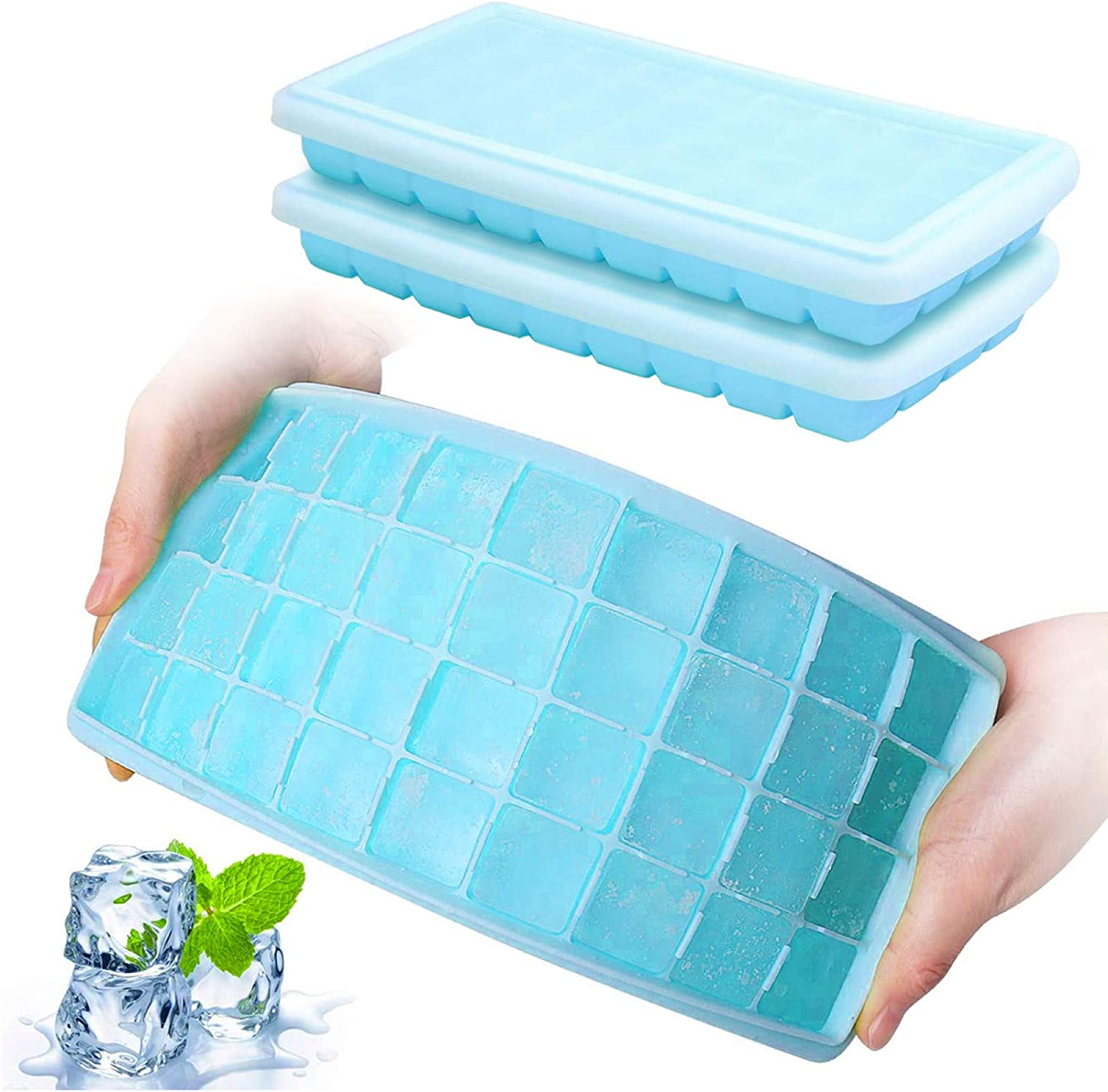 UPMCT Ice Cube Trays, 2 Pack Square Silicone Ice Cube Tray with Lids Easy Release No smell pollution BPA Free, for Whiskey, Cocktail Stock Baby Food, Freeze Cream