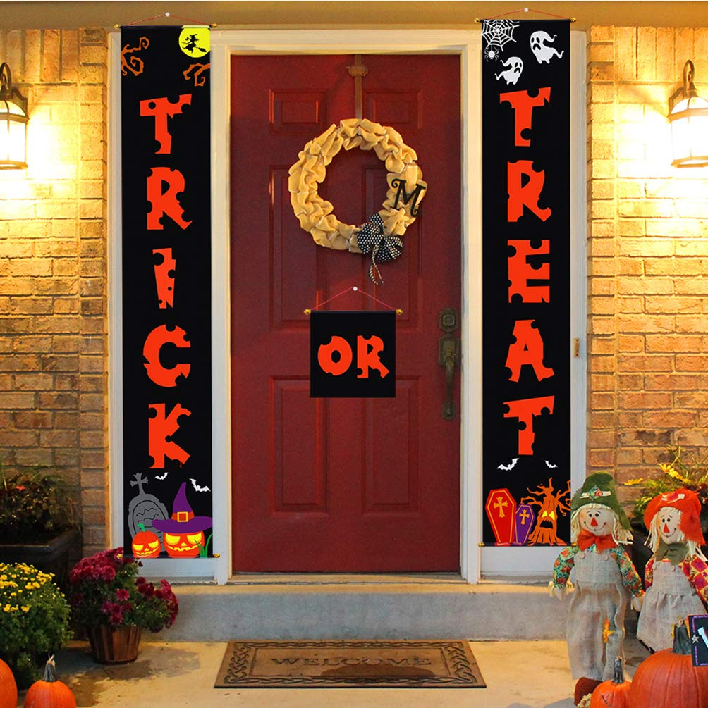 Amazon.com: Halloween Decorations Door Banners For Trick Or Treat Home  Office Décor 3pcs U2013 Ready To Hang: Kitchen U0026 Dining