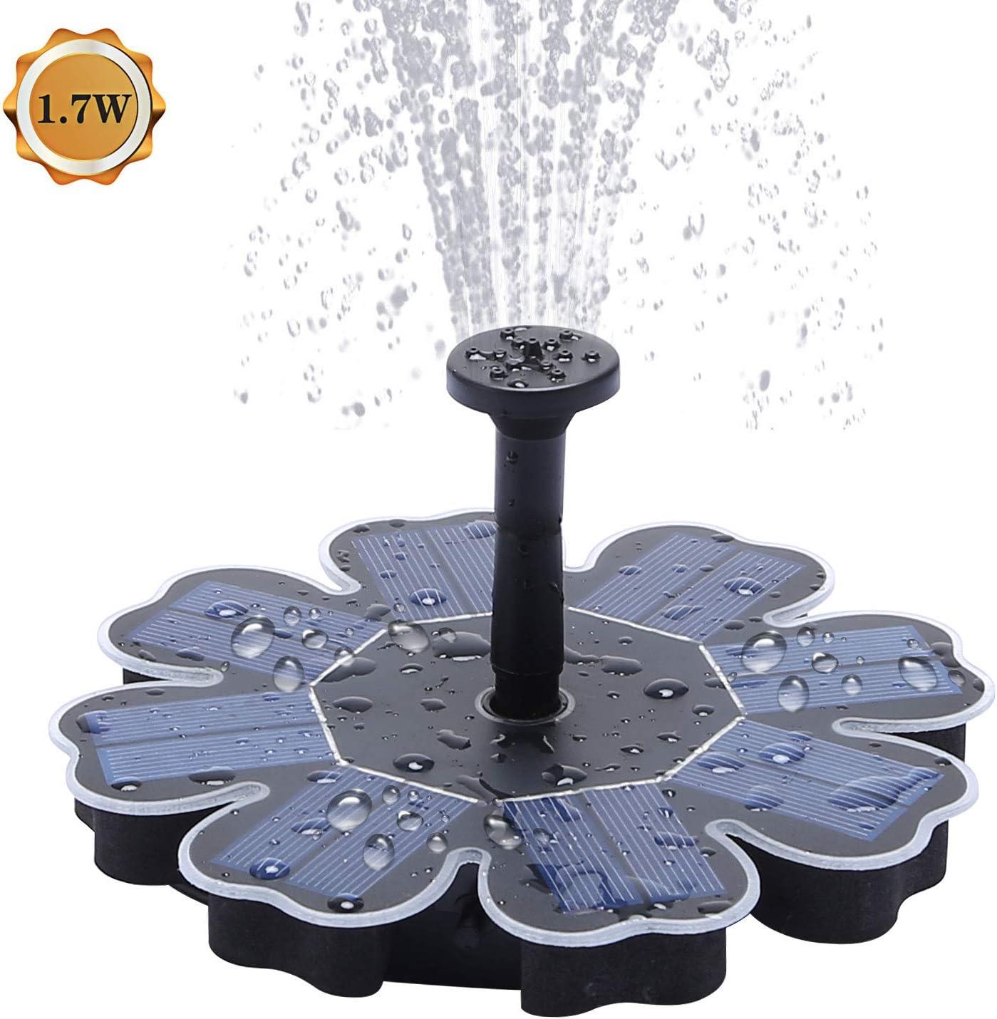 Solar Fountain Pump 1.7W Outdoor Solar Pond Pump for Bird Bath,Pool,4 Spray Solar Powered Garden Fountain Fountain
