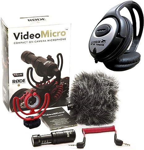 Rode Videomicro - Micrófono direccional de condensador y auriculares estéreo keepdrum: Amazon.es: Electrónica