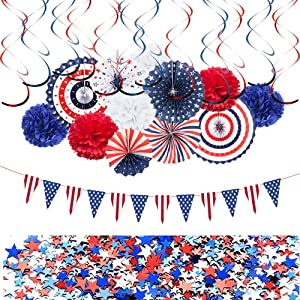 Patriotic Day Party Decorations Set, 4th of July American Flag Independence Day Decor Party Supplies - Red White Blue Hanging Paper Fans, USA Flag Pennant Banners, Hanging Swirls, Party Star Streamer