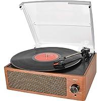 Bluetooth Platine Vinyle, Retro Portable Tourne-Disque à Trois Vitesse 33/45/78 avec Haut-parleurs intégrés, Bois Naturel