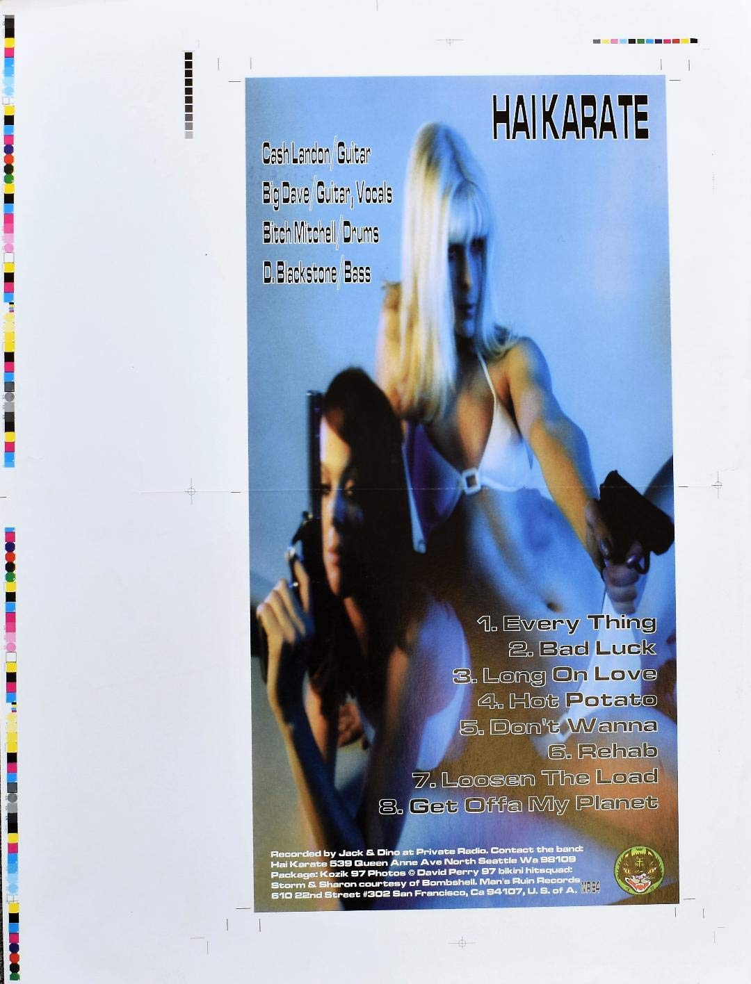 Hai Karate Album Uncut Poster Proof Frank Kozik Designed 1998 by Visible Vibrations