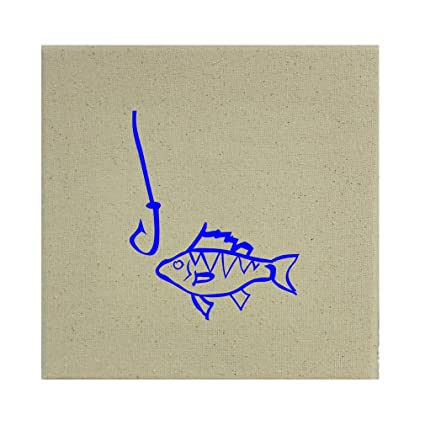 "Style in Print Fish And Hook Fish Image Stretched Natural Canvas 8"" ..."