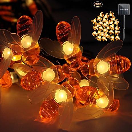 Bee Lights IMazer Bumble Decorations Solar String 30 LED Honey Shaped Fairy