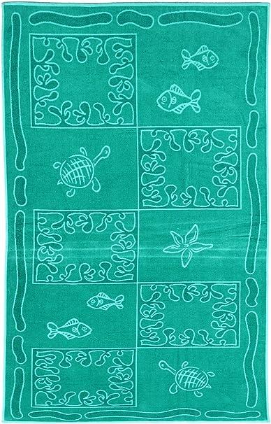 SO MY HOME - Toalla de playa de terciopelo, algodón puro, talla XXL 100 x 200 cm, diseño de tortugas, algodón (Azul laguna): Amazon.es: Hogar