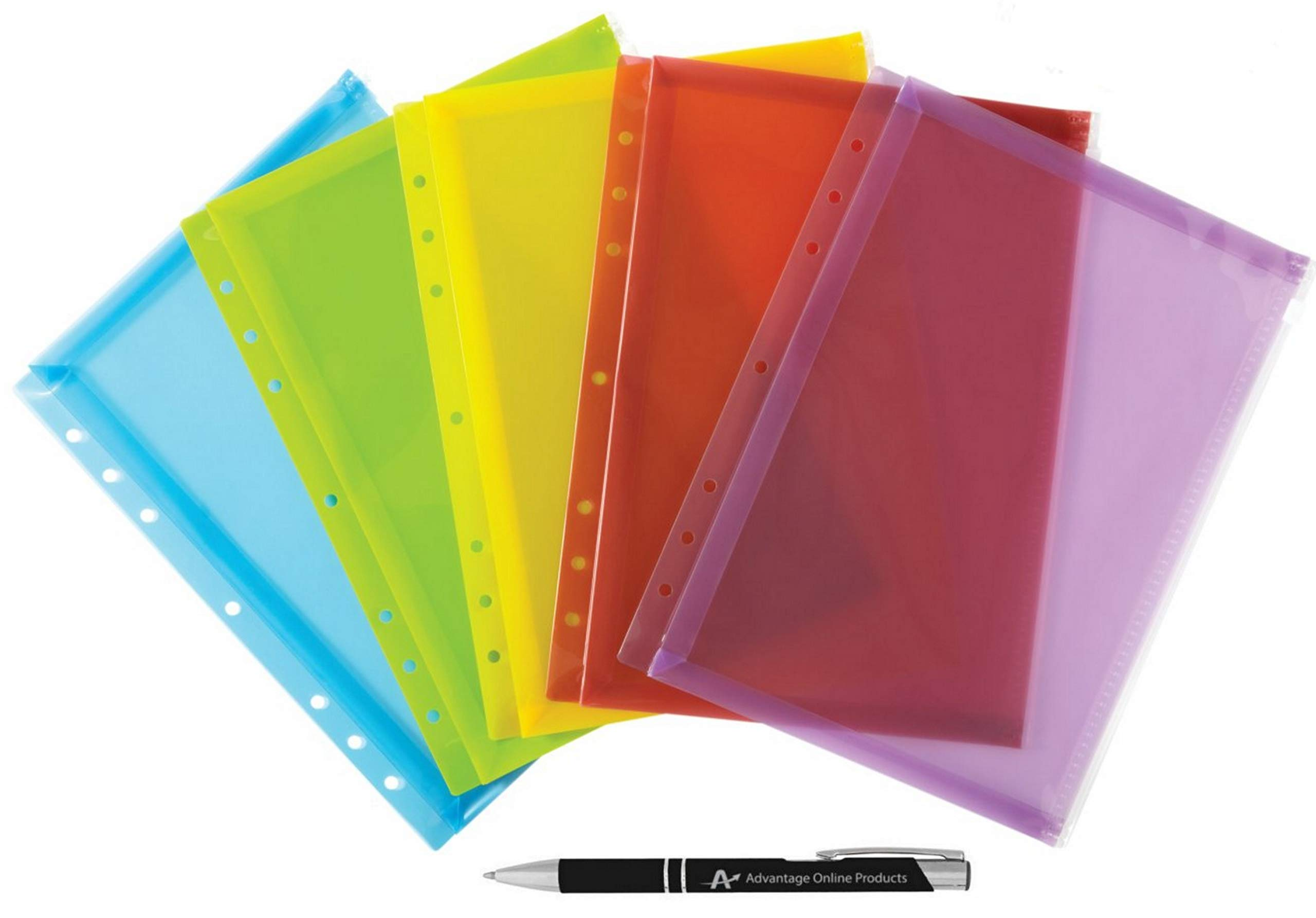 6 Pack Wilson Jones Zipper Binder Pocket / Pouches for 3 Ring Binders, Assorted Colors, Includes a Custom AdvantageOP Chrome and Black Retractable Pen (W20269)