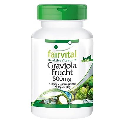 500mg Fruta Graviola - Bote para 4 meses - VEGANO - Alta dosificación - 120 Cápsulas