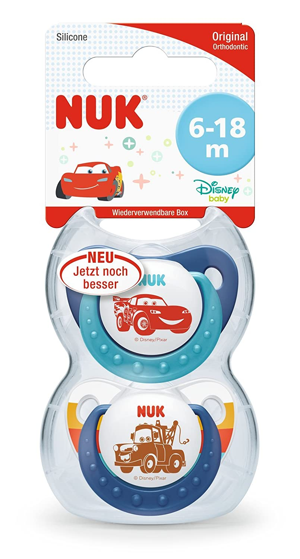 NUK Trendline Disney Pixar Cars 2-Pack Orthodontic Shape Soother/ Pack of 2 /Blue