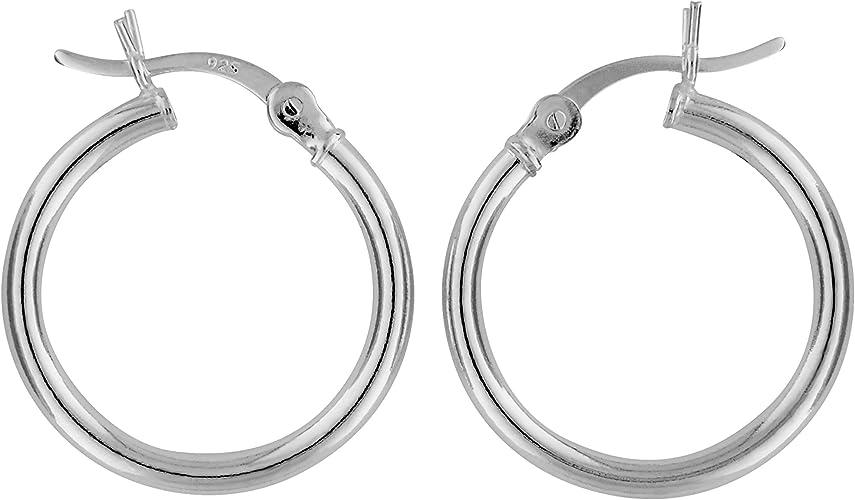 Sterling Silver 2mm Thick Hoop Earrings 15mm Diameter