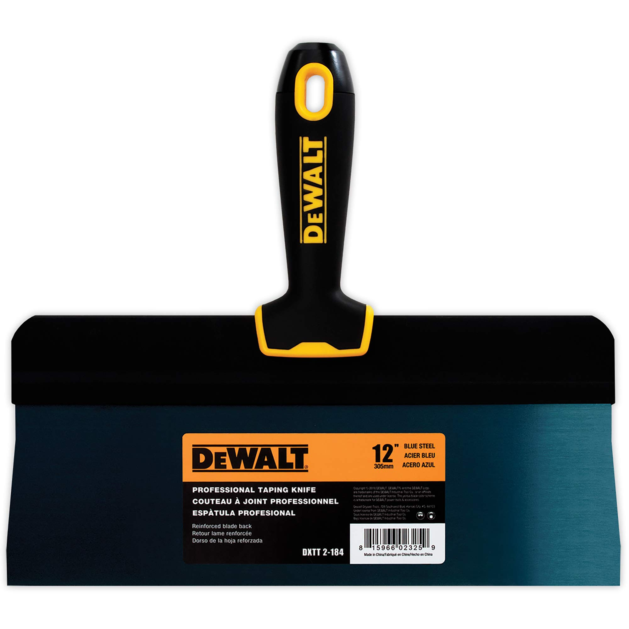 DEWALT 12-Inch Big Back Taping Knife | Blue Steel w/Soft Grip Handle | DXTT-2-184