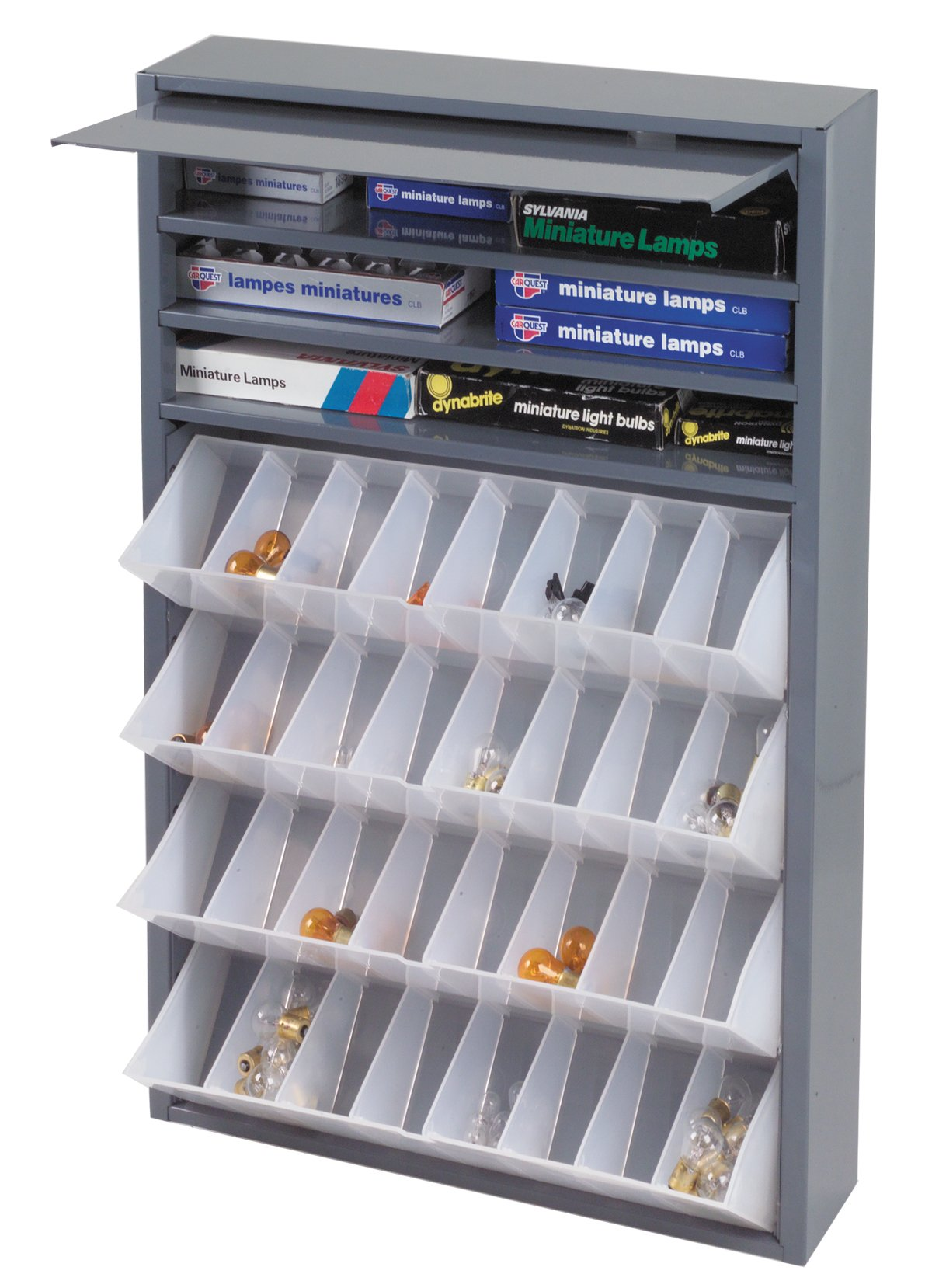 Durham 590-95 Gray Cold Rolled Steel Tilt-Out Tray Dispensing Cabinet, 19'' Width x 26-3/4'' Height x 4'' Depth