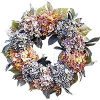 Flameer 22 Inch Front Door Wreath Hydrangea Wreath Christmas Wreath Front Door Wreath