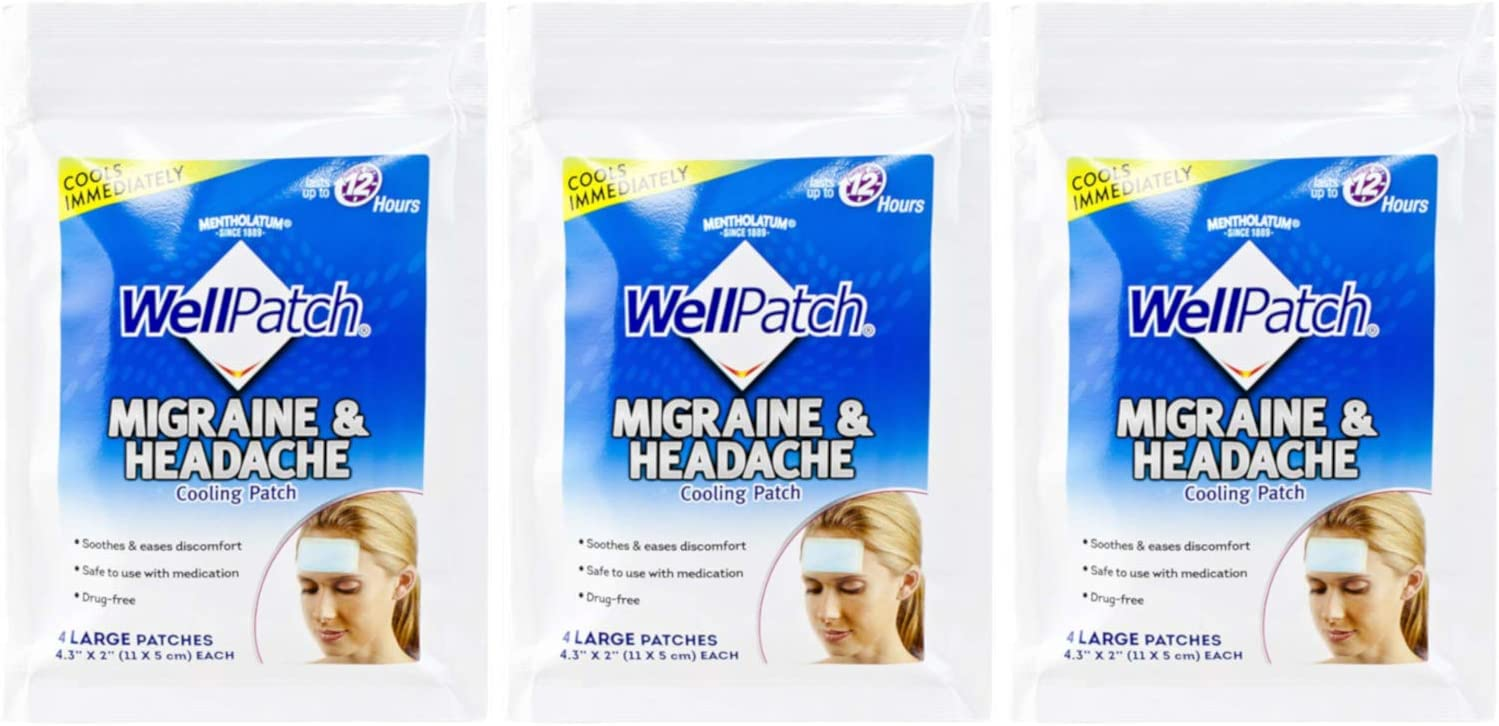 WellPatch Migraine & Headache Cooling Patch 3 Packs of 4 (12 Total Patches)