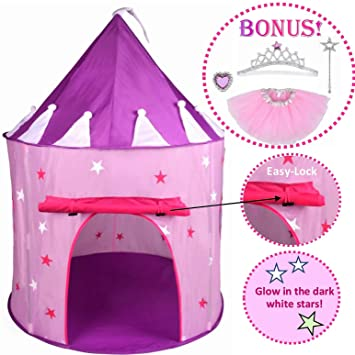 5pc Princess Tent for Girls Play Tent Princess Castle w Glow in the Dark Stars.  sc 1 st  Amazon.com : kids glow tent - memphite.com