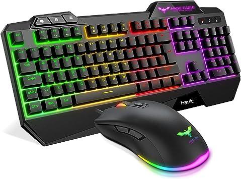 Teclado Gaming {UK Layout}Keyboard para Juegos, HAVIT Rainbow Conjunto de Combinados para Teclado y Raton con Retroiluminación LED, Negro