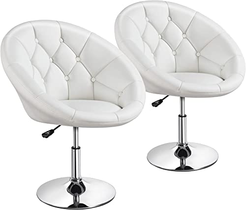 Yaheetech Adjustable Modern Round Tufted Back Chair Tilt Swivel Chair Vanity Chair Barstool Lounge Pub Bar 2pcs – White
