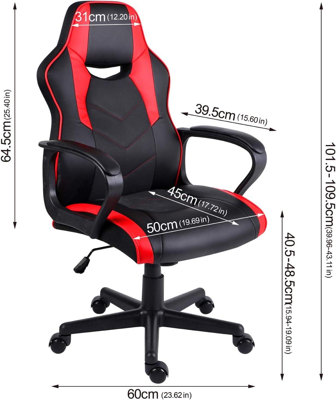 Hadwin Chaise de bureau pivotante en cuir PC avec accoudoirs rembourrés et design ergonomique pour adultes et enfants Bleu Rouge