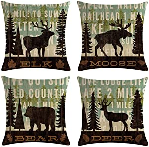 MOMIKA Vintage Background Wildlife Elk Moose Bear Deer Pine Tree Forest Throw Pillow Covers Cotton Linen Pillowcase Cushion Cover Home Office Decor Square 18