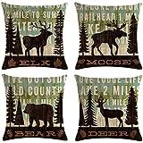 MOMIKA Vintage Background Wildlife Elk Moose Bear Deer Pine Tree Forest Throw Pillow Covers Cotton Linen Pillowcase Cushion C