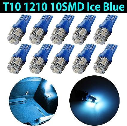 10Pcs 12v White T10 1206 158 168 192 194 8SMD LED Super Bright Car Lights Bulb